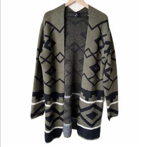 Gnw olive green & black Aztec boho open sweater L